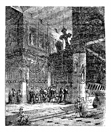 Church of the Nativity, church, Bethlehem, Israel, old engraved illustration of Church of the Nativity, Bethlehem, Israel, in the 1890s Vector