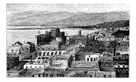beirut lebanon: Beirut city, Lebanon, vintage engraving. Old engraved illustration of the city of Beirut in Lebanon in the 1890s, cityscape Illustration