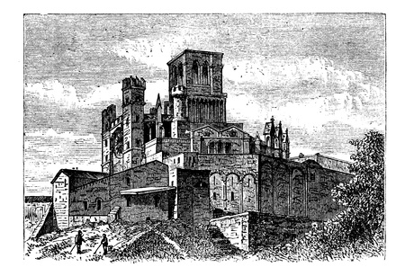 Bezier Cathedral or Saint-Nazaire Cathedral, Beziers, France, old engraved illustration of the Cathedral Saint-Nazaire, France, in the 1890s Stock Vector - 13772325