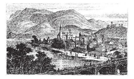 메달: 빙엔이 RHEIN, 독일 라인란 트 팔츠 마을이다, 마을 빙엔의 옛 새겨진 그림은 1890 년대에, RHEIN입니다.