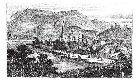 Bingen am Rhein, town in Rhineland-Palatinate, Germany, old engraved illustration of the town Bingen am Rhein, in the 1890s. Illustration