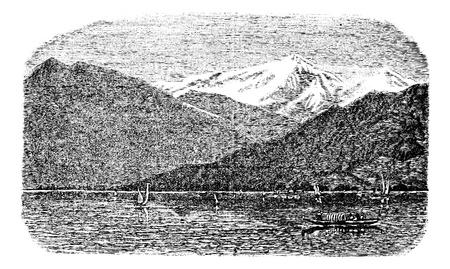 Mont Blanc, mountain, Lake Geneva, Switzerland and France, old engraved illustration of Mont Blanc, mountain, Lake Geneva, Switzerland and France, 1890s.
