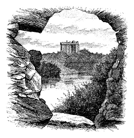 Blarney Castle, Blarney, Cork, Ireland, vintage engraving in 1890s. Old engraved illustration of Blarney Castle, County Cork, Ireland, 1890s. Illustration
