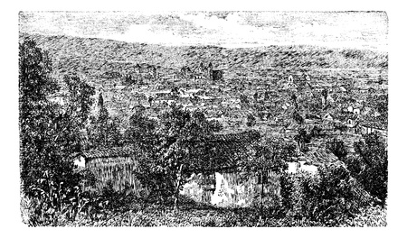 Bogota city, capital of Colombia, vintage engraving in the 1890s, South Ameold engraved illustration. City outskirt view from 1890s. Vector