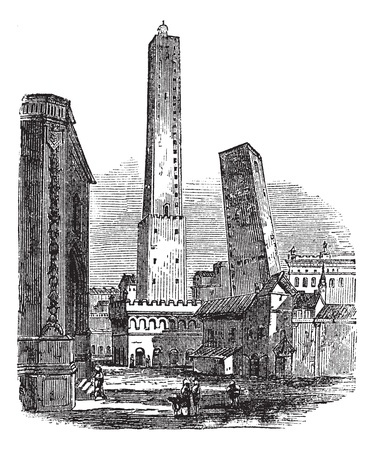 bologna: The two medieval Towers of Bologna, Bologna, Italy, vintage engraving. Old engraved illustration of Towers of Bologna, Italy in the 1890s.