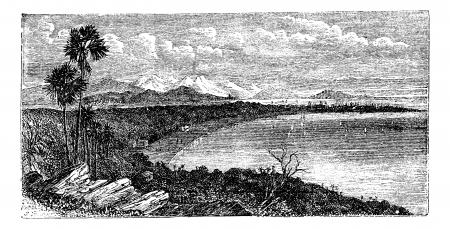 coastal: Bay of Bombay,Mumbai India, old engraved illustration of Bay of Bombay, India, 1890s.