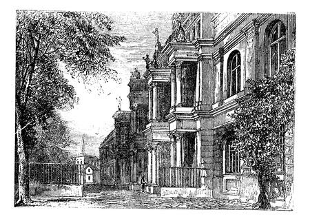 Università di Bonn, Bonn, Germania incisione vintage. Old illustrazione incisa dell'Università di Bonn, in Germania, 1890 Archivio Fotografico - 13772413