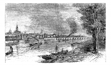 Bordeaux port city, Garonne River, France, vintage engraving. Old engraved illustration of Bordeaux, port in the 1890s.