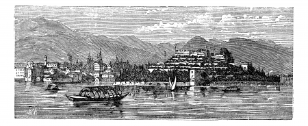 architectural heritage: Borromean, Islands on Lake Maggiore,  Italy. Old engraved illustration of Borromean Islands Lake Maggiore,  Italy in the 1890s.