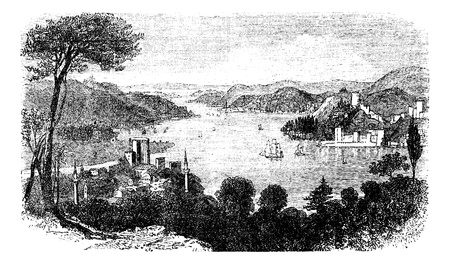 the ancient pass: Bosphorus or Istanbul Strait, in Istanbul, Turkey, during the 1890s, vintage engraving. Old engraved illustration of Bosphorus.