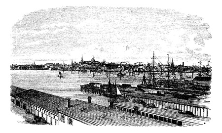 port: Boston, in Massachusetts, USA, during the 1890s, vintage engraving. Old engraved illustration of Boston. Illustration