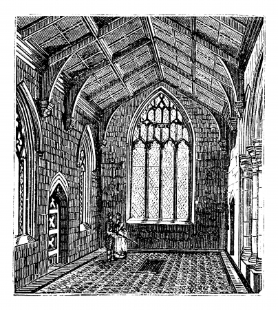 lincoln: Saint Botolphs Church, in Boston, Lincolnshire, England, during the 1890s, vintage engraving. Old engraved illustration of the inside of Cotton Chapel in Saint Botolphs Church.