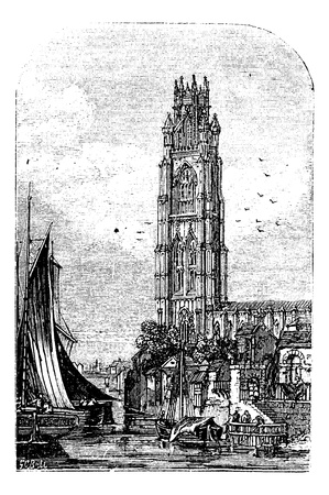 St Botolph's Church, Boston, Lincolnshire, England, UK vintage engraving.  Old engraved illustration of building exterior Stock Vector - 13771820