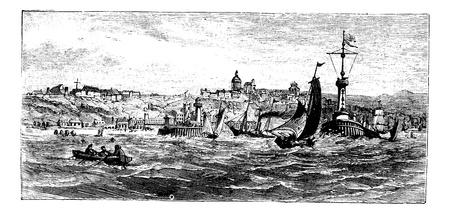 sur: Boulogne-sur-Mer, city, France vintage engraving. Old engraved illustration of ships on the sea nearBoulogne-sur-Mer, France, in the 1890s. Illustration