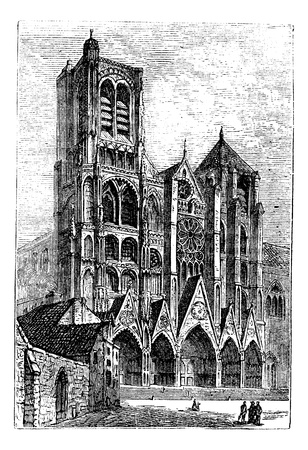 Bourges Cathedral, in Bourges, France vintage engraving.  Old engraved illustration of Bourges Cathedral front side, during the 1890s Vector