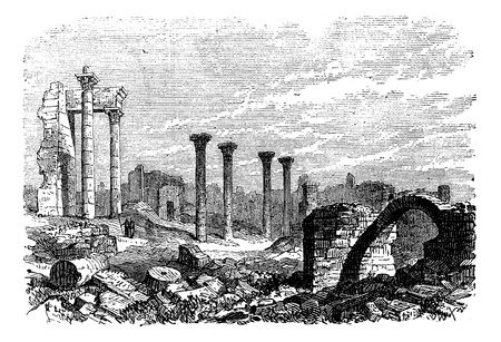 Ruins of Bozrah,  Captial city of Edorn, Jordan, now Bouseira vintage engraving. Old engraved illustration of Ruins of Bozrah,  Jordan, in the 1890s