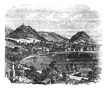 lake house: Bregenz, city, Vorarlberg, Austria, old engraved illustration of Bregenz, city, Vorarlberg, Austria, 1890s.