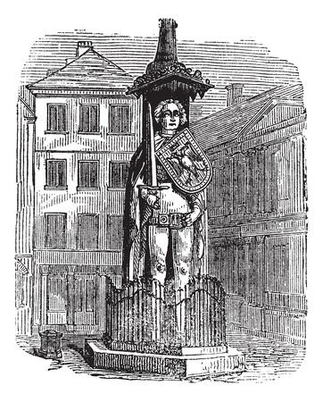 bremen: Bremen Roland, statue, Bremen, Germany, old engraved illustration of Bremen Roland, statue, Bremen, Germany, 1890s.  Illustration