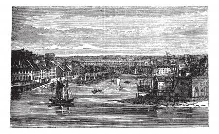 brest: Penfeld , river, Brest, France, old engraved illustration of Penfeld river, Brest, France, 1890s. Illustration