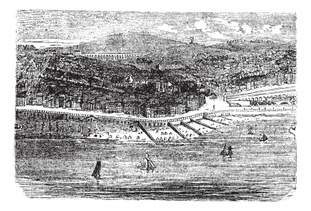 Vector of historical buildings at Brighton with sailboats sailing in foreground