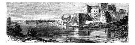 Illustration of the castle of Brindisi , or Red Castle vintage engraving. Old engraved illustration of the Brindisi Castle, in the town of Brindisi, Apuila region, Italy. Stock Vector - 13772228