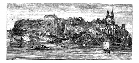 View of boats in river with building and castle on a hill in the background, in Old Breisach, Germany, vintage engraving from 1890s.