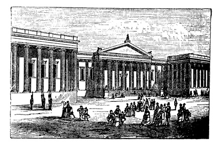 english culture: British Museum in London, United Kingdom (England), vintage engraving from 1890s. Old engraved illustration of a city scene in front of the British Museum in London. Illustration