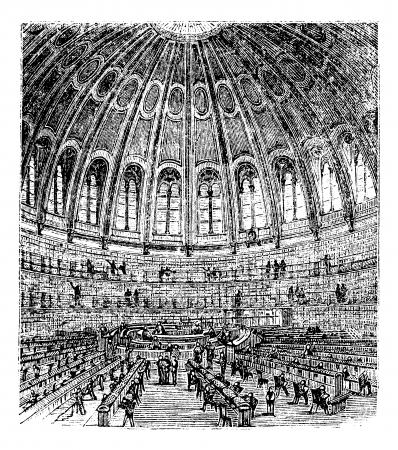 Boceto de la sala de lectura en el Museo Británico en Londres, Reino Unido (Inglaterra), el grabado de la vendimia de 1890. Ilustración del Antiguo grabado de una escena dentro de la sala de lectura del Museo Británico. Foto de archivo - 13772192
