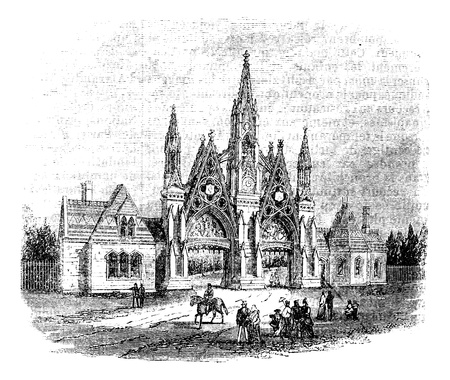 The entrance of GreenWood Cemetery at Brooklyn, United States. Vintage engraving from 1890s. Old engraved illustration of the Greenwood cemetery gates, with a horseman and people nearby. Vector