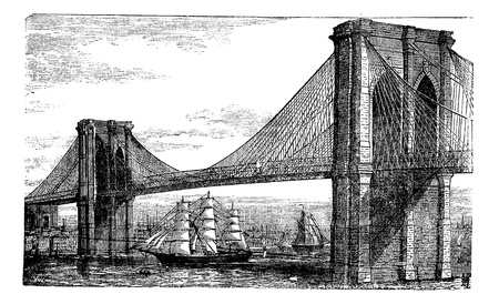 Illustration of Brooklyn Bridge and East River, New York, United States. Vintage engraving from 1890s. Old engraved illustration of the Brooklyn suspension Bridge completed in 1883, with ships navigating below. Ilustração