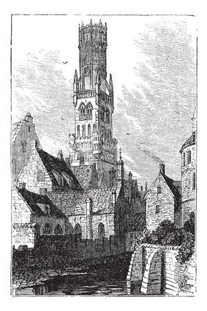 Beffroi de Bruges, ou Bellfort, Bruges, Belgique. Gravure Vintage. Vieux illustration gravée de Bellfort tour érigée en 1240. Utilisé comme archives de la ville. Banque d'images - 13772304