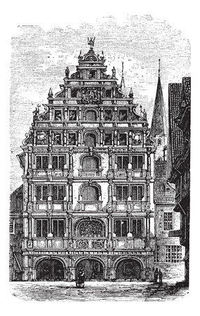 noted: The Gewandhaus of Brunswick, or Braunschweig, Lower Saxony, Germany. Vintage engraving. Old engraved illustration of a concert hall.  Noted for its fine acoustics. Illustration