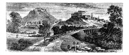 Brunn or Brno, capital city of Moravia, Czech Republic.Vintage engraving. Old engraved illustration of Brno during 18th centurys industrial Revolution era.