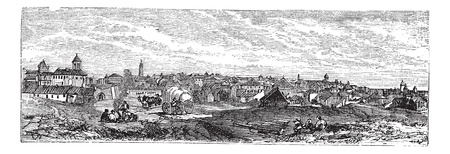 Bucharest, city, Romania, old engraved illustration of Bucharest, city, Romania, 1890s.