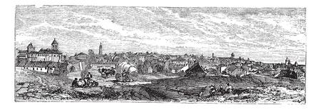 Boekarest, de stad, Roemenië, oude gegraveerde illustratie van Boekarest, stad, Roemenië, 1890. Vector Illustratie