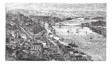 Chain Bridge, suspension bridge, Budapest, Hungary, old engraved illustration of Chain Bridge, Budapest, Hungary, 1890s.