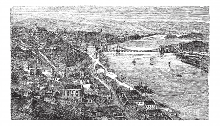 Chain Bridge, suspension bridge, Budapest, Hungary, old engraved illustration of Chain Bridge, Budapest, Hungary, 1890s.