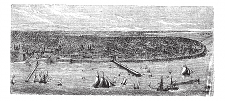 buenos aires: Buenos Aires, city, Argentina, old engraved illustration of Buenos Aires, city, Argentina, 1890s.