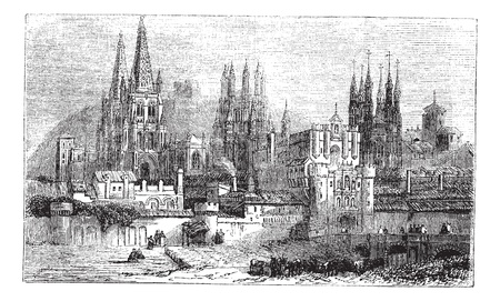 cathedrals: Burgos, city, Spain, old engraved illustration of Burgos, city, Spain, 1890s.