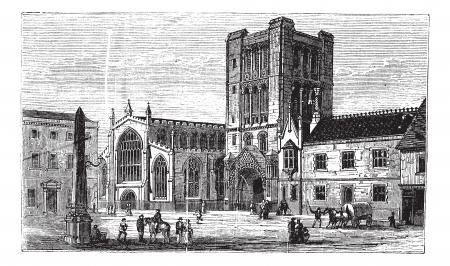 bury: Bury St Edmunds, market town, Suffolk, England, old engraved illustration of Bury St Edmunds, market town, England, 1890s. Illustration
