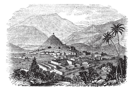 Kabul, city, Afghanistan, old engraved illustration of Kabul, city, Afghanistan, 1890s. Vector
