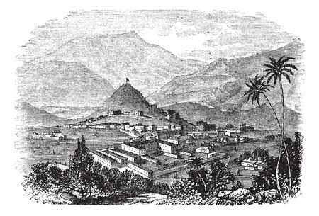 afghanistan': Kabul, city, Afghanistan, old engraved illustration of Kabul, city, Afghanistan, 1890s. Illustration