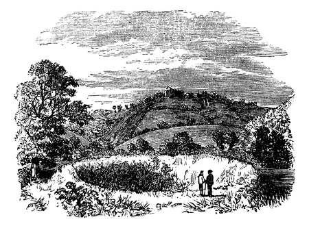 Arthurs Round Table, Caerleon amphitheatre, Britain, United Kingdom, old engraved illustration of Arthurs Round Table, Britain, 1890s. Vector