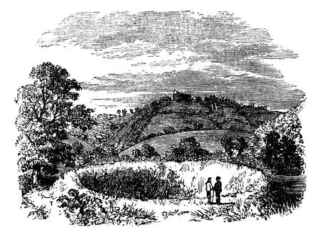 arthur: Arthurs Round Table, Caerleon amphitheatre, Britain, United Kingdom, old engraved illustration of Arthurs Round Table, Britain, 1890s.