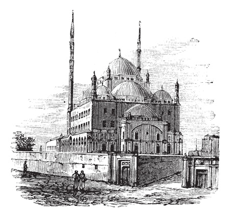 the citadel: Moschea di Muhammad Ali o Moschea di Alabastro, nella Cittadella del Cairo, in Egitto. Vintage incisione. Old illustrazione incisa della Moschea Muhammad Ali nel 1890. Vettoriali