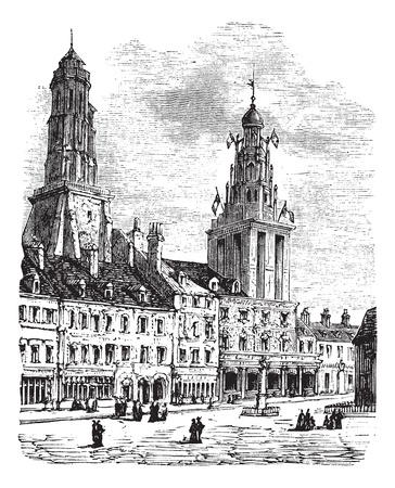 black and white image: Calais city in France. City square, city hall and lighthouse vintage engraving. Old engraved illustration of a city scen in Calais, 1890.