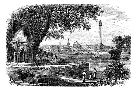 monument in india: Government House ,  Ochterlony Monument, Calcutta, India, old engraved illustration of Government House  and  Ochterlony Monument, Calcutta, India, 1890s.