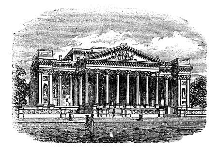 architectural heritage: Fitzwilliam  Museum, Cambridge, United Kingdom, old engraved illustration of Fitzwilliam  Museum, Cambridge, England, 1890s.