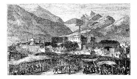 Kandahar hoofdstad van de provincie Afghanistan vintage engraving. Oude gegraveerde illustratie van bergen en residentiële structuren in de jaren 1890