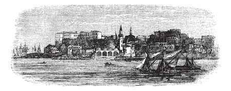 Old port of Chania, Crete islands, Greece vintage engraving. Old engraved illustration of ships with buildings in the background, from the 1890s.